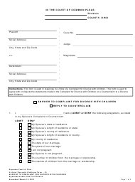 """Uniform Domestic Relations Form 10 """"Answer to Complaint for Divorce With Children"""" - Ohio"""