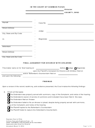 """Uniform Domestic Relations Form 12 """"Final Judgment for Divorce With Children"""" - Ohio"""