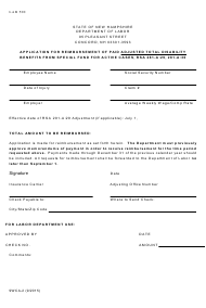 """Form 9WCA-2 """"Application for Reimbursement of Paid Adjusted Total Disability Benefits From Special Fund for Active Cases, Rsa 281-a:29, 281-a:30"""" - New Hampshire"""