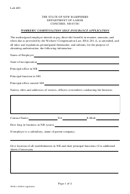 "Form WCSI-1 ""Workers' Compensation Self-insurance Application"" - New Hampshire"