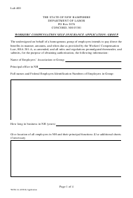 """Form WCSI-1A """"Workers' Compensation Self-insurance Application - Group"""" - New Hampshire"""