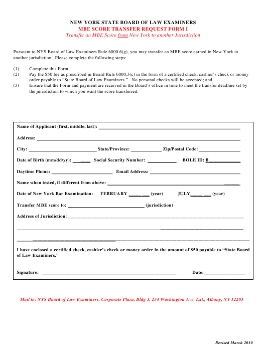 Form I Download Printable Pdf Or Fill Online Mbe Score Transfer Request Form New York Templateroller