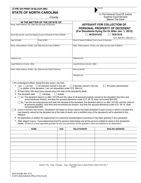 Form AOC-E-203B  Printable Pdf