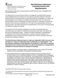 "Form SDS0345 ""Non-disclosure Statement Licensing Activity With Representative"" - Oregon"