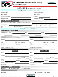 "Form HR014 ""Beacon Data"" - North Carolina"