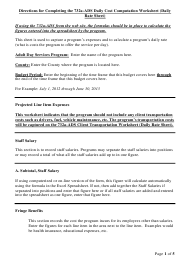 """Instructions for Form 732A """"Adult Day Services Daily Cost Computation Worksheet"""" - North Carolina"""