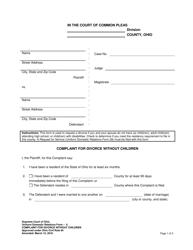 "Form 6 ""Complaint for Divorce Without Children"" - Ohio"