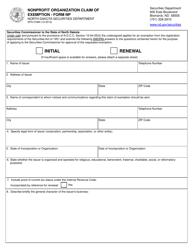 "Form SFN51969 (NP) ""Nonprofit Organization Claim of Exemption"" - North Dakota"