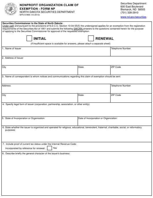 Form SFN51969 (NP)  Printable Pdf