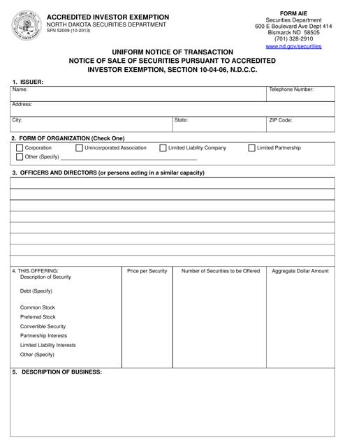 Form SFN52009  Printable Pdf