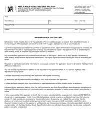 "Form SFN50788 ""Application to Establish a Facility"" - North Dakota"