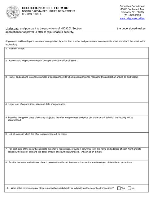 Form SFN53742 (RO)  Printable Pdf