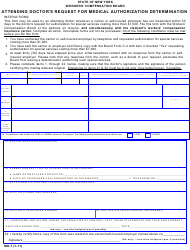 "Form MD-1 ""Attending Doctor's Request for Medical Authorization Determination"" - New York"