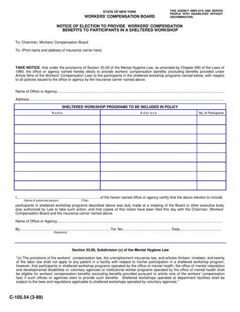 Form C-105.54  Printable Pdf