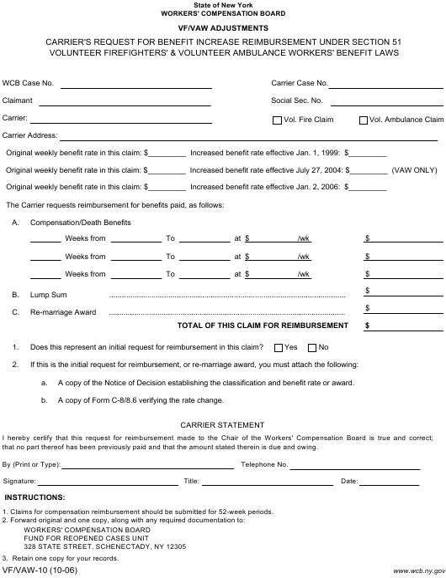 Form VF/VAW-10 Printable Pdf