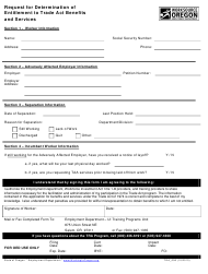"Form TRA_006 ""Request for Determination of Entitlement to Trade Act Benefits and Services"" - Oregon"
