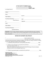 "Form 21 ""Motion for Contempt and Affidavit"" - Ohio"