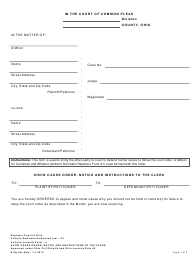 """Form 22 """"Show Cause Order, Notice and Instructions to the Clerk"""" - Ohio"""