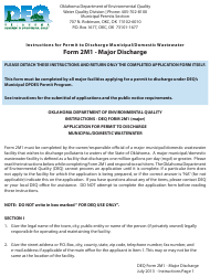"Instructions for DEQ Form 2M1 ""Application for Permit to Discharge Municipal/Domestic Wastewater"" - Oklahoma"