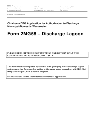 "DEQ Form 2MG58 ""Discharge Lagoon General Permit Application"" - Oklahoma"