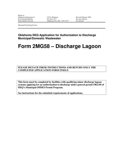 DEQ Form 2MG58  Printable Pdf