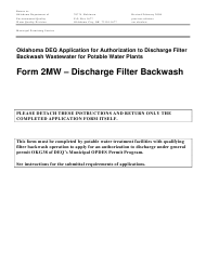 "DEQ Form 2MW ""Application for Authorization Under General Permit Okg38 to Discharge Filter Backwash Wastewater Under the Oklahoma Pollutant Discharge Elimination System (Opdes)"" - Oklahoma"