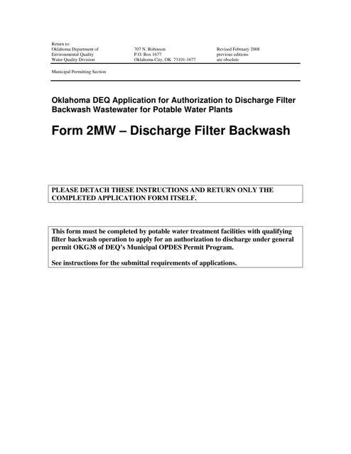 DEQ Form 2MW  Printable Pdf