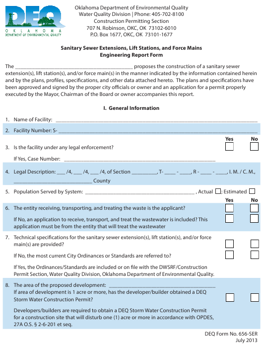 DEQ Form 626-SER  Printable Pdf