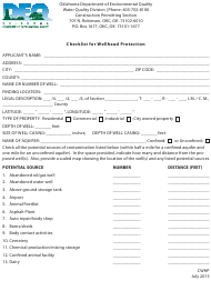 "DEQ Form CWHP ""Checklist for Wellhead Protection"" - Oklahoma"