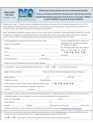 "DEQ Form 605-R04 ""Notice of Intent (Noi) for Stormwater Discharges From Small Municipal Separate Storm Sewer Systems (Ms4s) Under Opdes General Permit Okr04"" - Oklahoma"