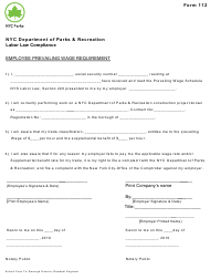 "Form 112 ""Employee Prevailing Wage Requirement"" - New York City"