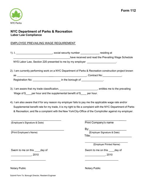 Form 112 Printable Pdf
