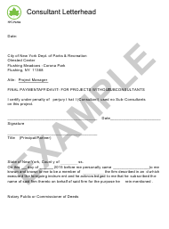"Sample ""Final Affidavit for Projects Without Subconsultants"" - New York City"