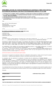 "Form 48 ""Specimen Letter ""b"" for Extensions of Contract Time for Partial Extensions Wherein Contractor Reserves Rights to Claim"" - New York City"