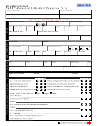 """Form S.P.653 """"Amber Abducted Child Alert Reporting Form"""" - New Jersey"""