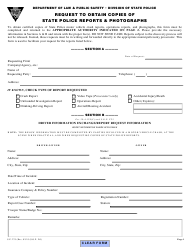 """Form S.P.275 """"Request to Obtain Copies of State Police Reports & Photographs"""" - New Jersey"""