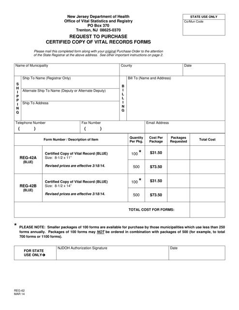 Form REG-62  Printable Pdf