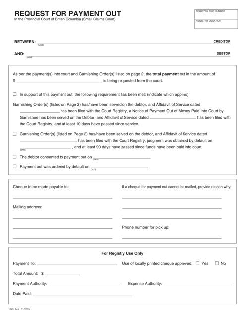 Form SCL841 Printable Pdf