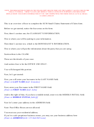 """Instructions for Form CIV-SC-50 """"Small Claims Statement of Claim"""" - New York City"""