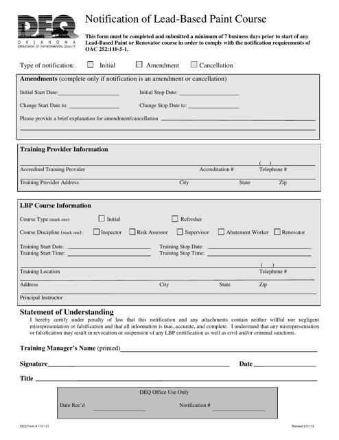 DEQ Form 110-121  Printable Pdf