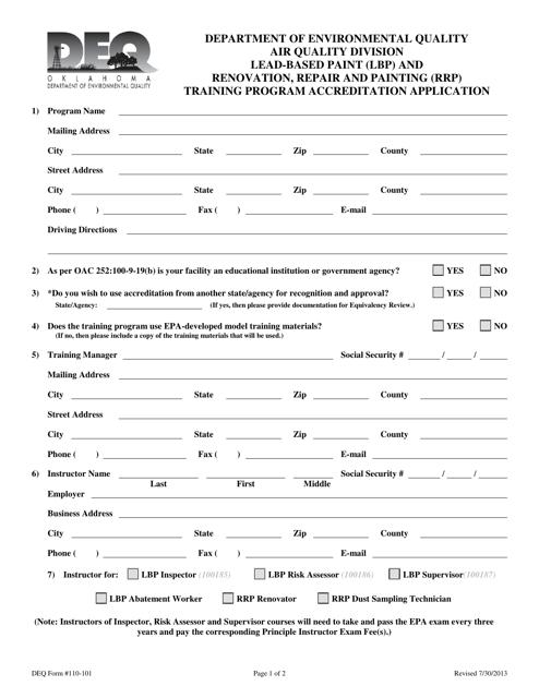 DEQ Form 110-101  Printable Pdf