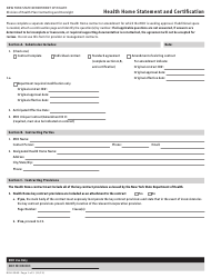 """Form DOH-5060 """"Health Home Statement and Certification"""" - New York"""