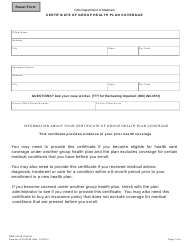 """Form ODM03748 """"Certificate of Group Health Plan Coverage"""" - Ohio"""