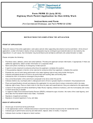 """Form PERM33 """"Highway Work Permit Application for Non-utility Work"""" - New York"""