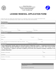 """License Renewal Application Form"" - New Jersey"