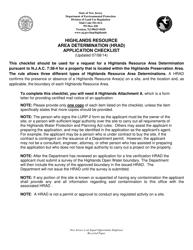 """Highlands Resource Area Determination (Hrad) Application Checklist"" - New Jersey"
