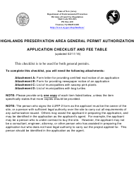 """Highlands Preservation General Permit Authorization Application Checklist"" - New Jersey"