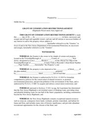"""Grant of Conservation Restriction/Easement (Highlands Preservation Area Approval)"" - New Jersey"