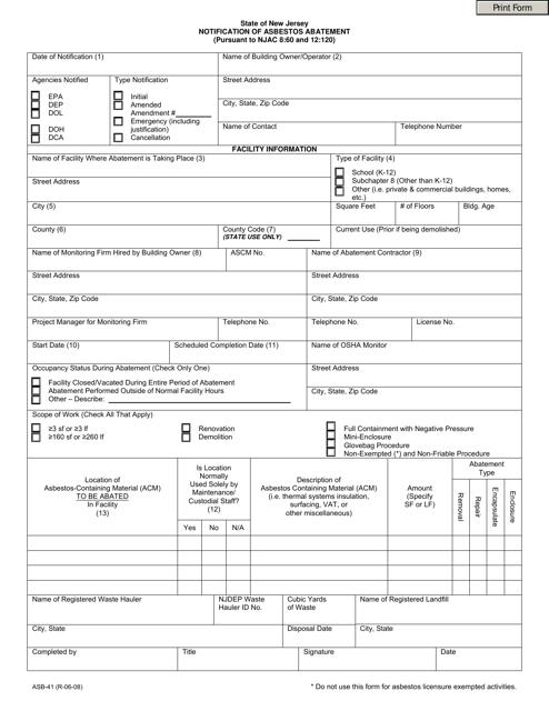 Form ASB-41  Printable Pdf