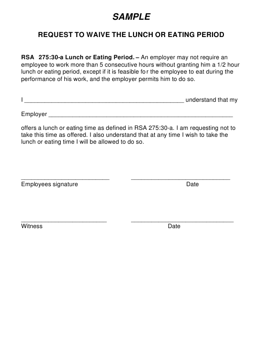 "Sample ""Request to Waive the Lunch or Eating Period"" - New Hampshire Download Pdf"